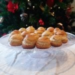 Christmas pastries with cashew and orange custard
