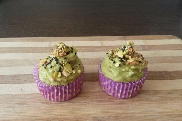 Cupcakes veganos con ganache verde