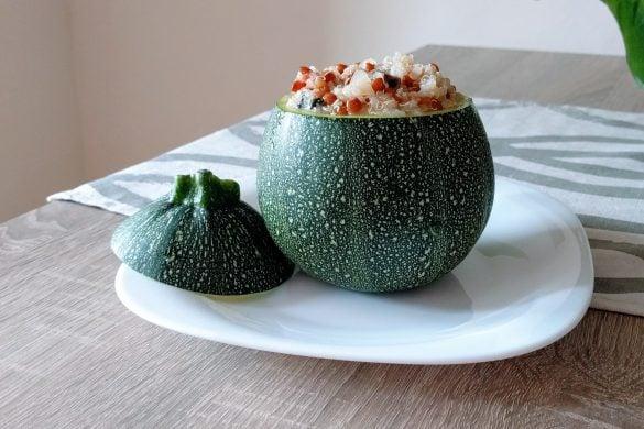 Calabacines rendos rellenos de quinoa y lentejas