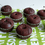 Gluten-free cacao muffins with cherries
