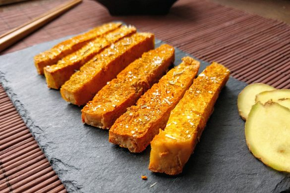 Tofu sticks with turmeric and ginger