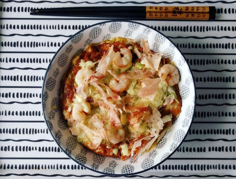 Okonomiyaki with shrimps