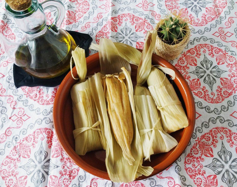 Tamales veganos rellenos de setas